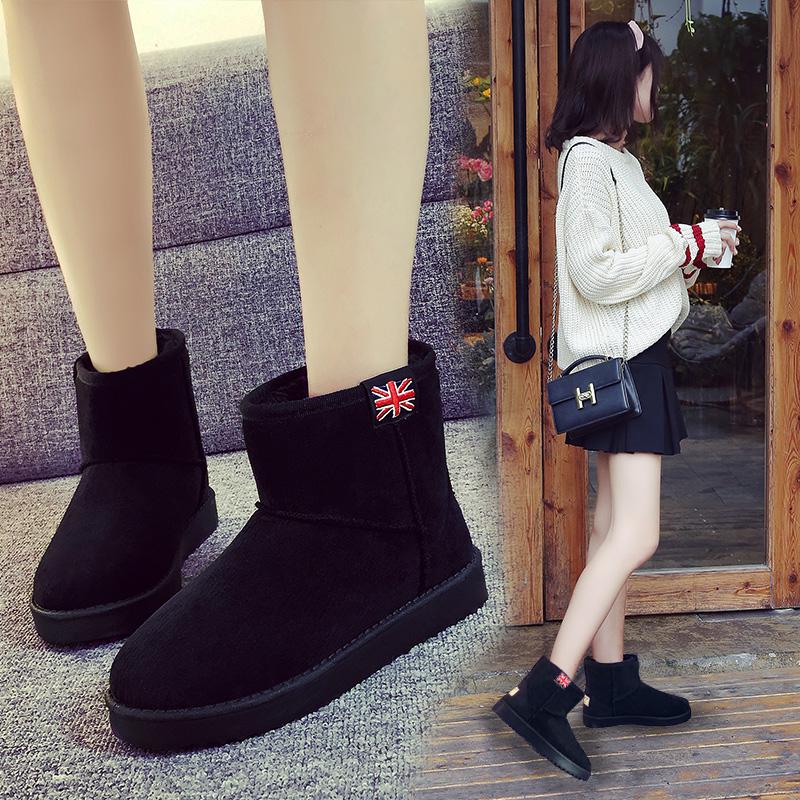 2018 winter new one-legged snow short boots female short tube Korean version of the wild student winter shoes plus velvet winter cotton shoes