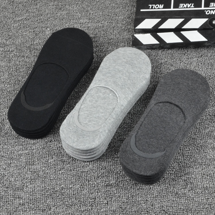 Socks men's peas socks autumn and winter boat 祙 cotton shallow mouth slip all invisible socks black and white deodorant men