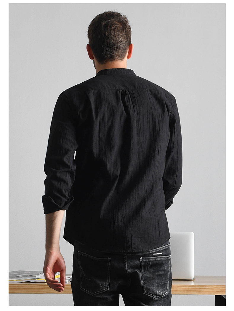 Han-Flo striped stitched long-sleeved shirt men's business casual shirt youth trend slim collar men's top 43 Online shopping Bangladesh