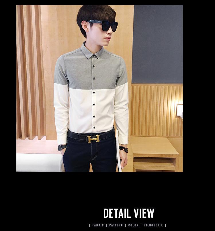 2017 Men's Fashion Shirt British Fashion Color Patchwork Slim Square Collar Men Long-Sleeved Fit Shirt Single-Breasted Shirt 4XL 37