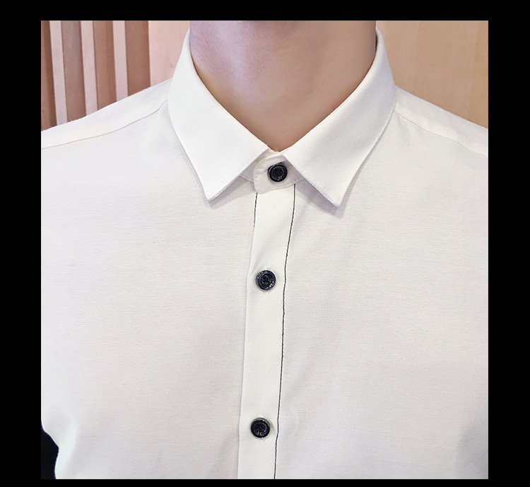 2017 Men's Fashion Shirt British Fashion Color Patchwork Slim Square Collar Men Long-Sleeved Fit Shirt Single-Breasted Shirt 4XL 16