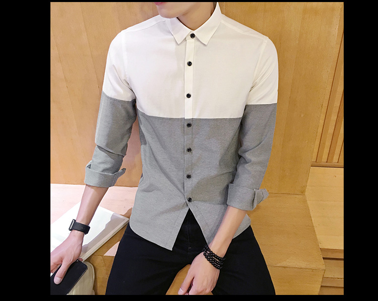 2017 Men's Fashion Shirt British Fashion Color Patchwork Slim Square Collar Men Long-Sleeved Fit Shirt Single-Breasted Shirt 4XL 30