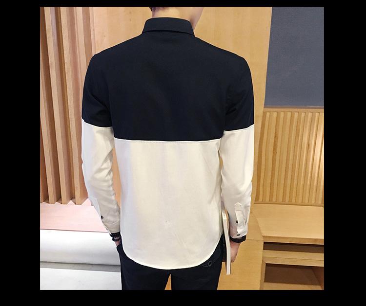 2017 Men's Fashion Shirt British Fashion Color Patchwork Slim Square Collar Men Long-Sleeved Fit Shirt Single-Breasted Shirt 4XL 18