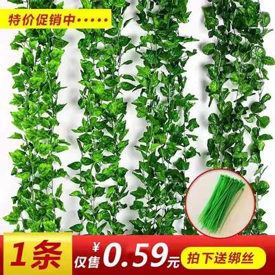 Simulation rattan fake flower grape leaves leaf green leaf green plant ceiling decorative pipe plastic vine vines wrapped