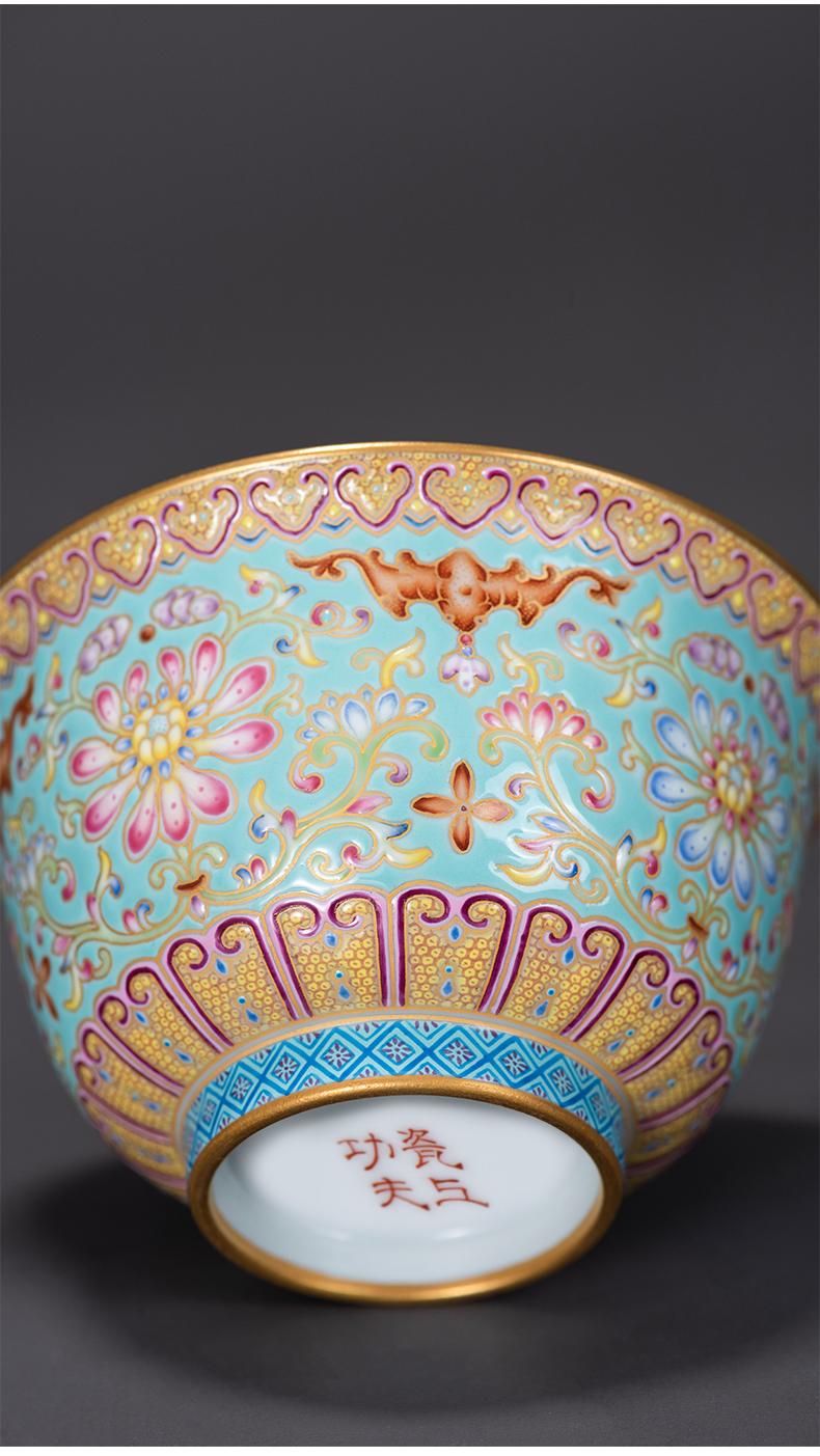 Colored enamel porcelain on kung fu turquoise, only two tureen ceramic design branch lotus large tea bowl tea orphan works