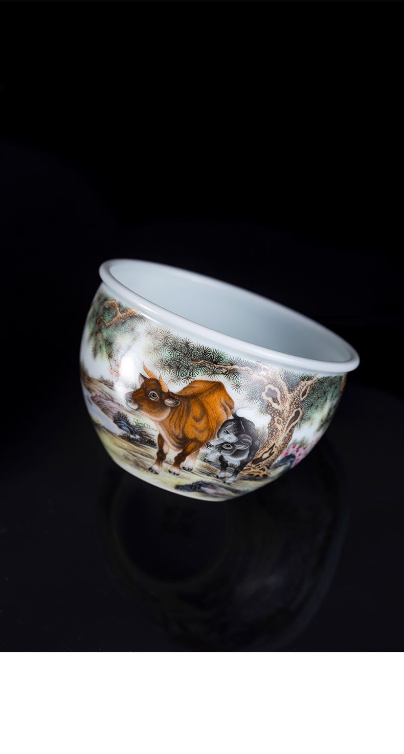 Hand - made colored enamel porcelain on kung fu wring kung fu tea cups of jingdezhen ceramic masters cup cylinder cup of the big bowl