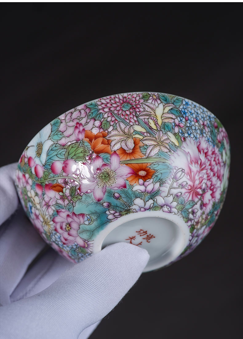 Master kung fu tea set on the porcelain ceramic sample tea cup cup hand - made m letters flowers single CPU personal cup thin foetus enamel cup
