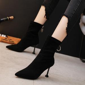 瘦瘦靴女中筒2020秋冬新款百搭网红细跟高跟鞋尖头马丁靴裸靴猫跟