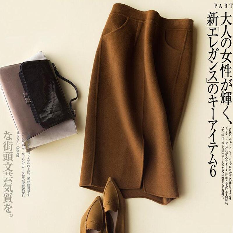新款毛呢半身裙子女秋冬羊毛裙包臀过膝大码中长款羊绒裙非双面厚