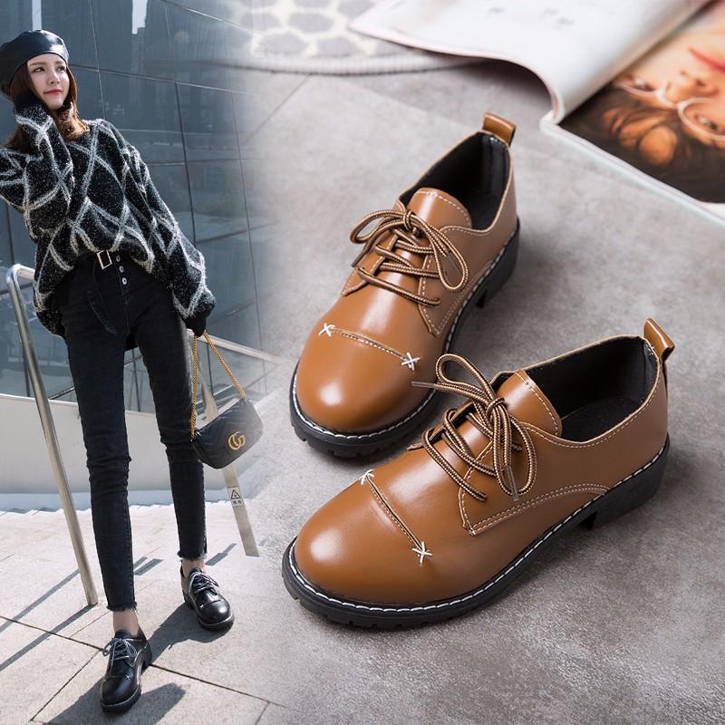 初羡2018秋季新款小皮鞋女单鞋小坡跟韩版学生鞋粗跟系带英伦鞋子