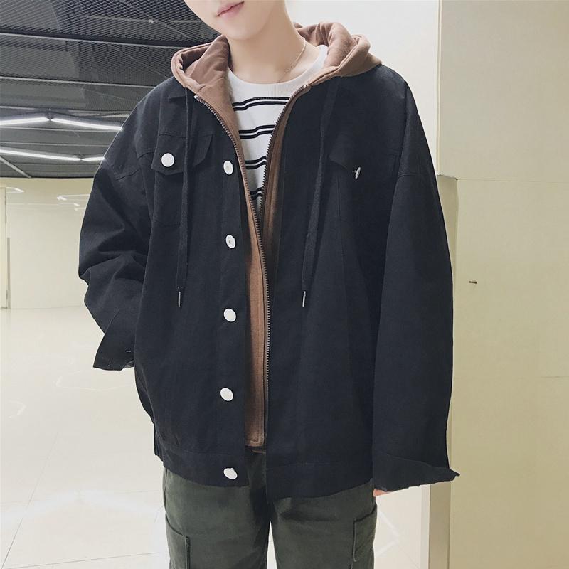 假两件外套男韩版潮流带帽港风chic春装ins工装韩风潮学院风上衣