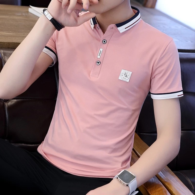 c3af2639874a Short-sleeved T-shirt male Korean version of the trend of self-cultivation  half-sleeved polo polo shirt 2019 new summer lapel shirt men s clothing