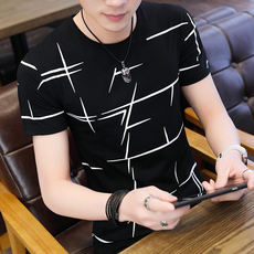 Summer new men's short-sleeved T-shirt trend Korean round neck handsome clothes students thin half-sleeved shirt men's clothing