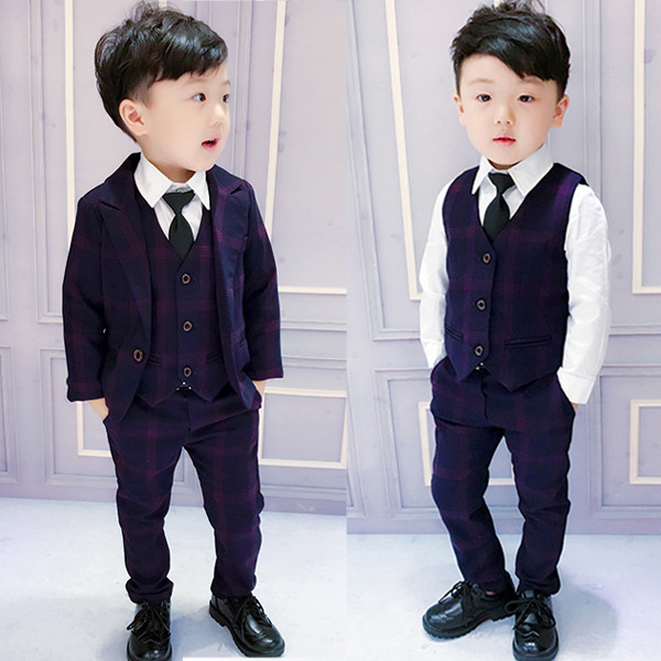70cf747b 5 spring and autumn boys suit three-piece children's dress suit England 1-3  years old male baby wedding flower girl 6 tide 8
