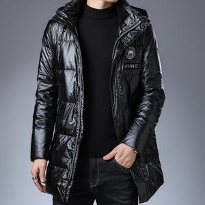 冬季新款亮面羽绒服男短款修身冬季潮流可拆卸帽白鸭绒保暖外套