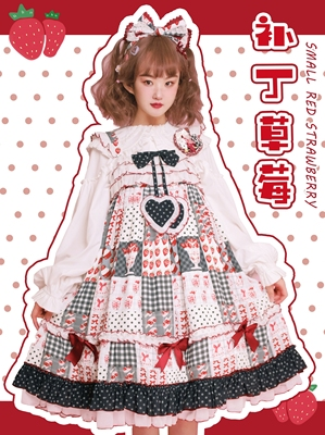 taobao agent Southern Cross Original【Patch strawberry】Lolita printed dress summer jsk deposit available flowers chant