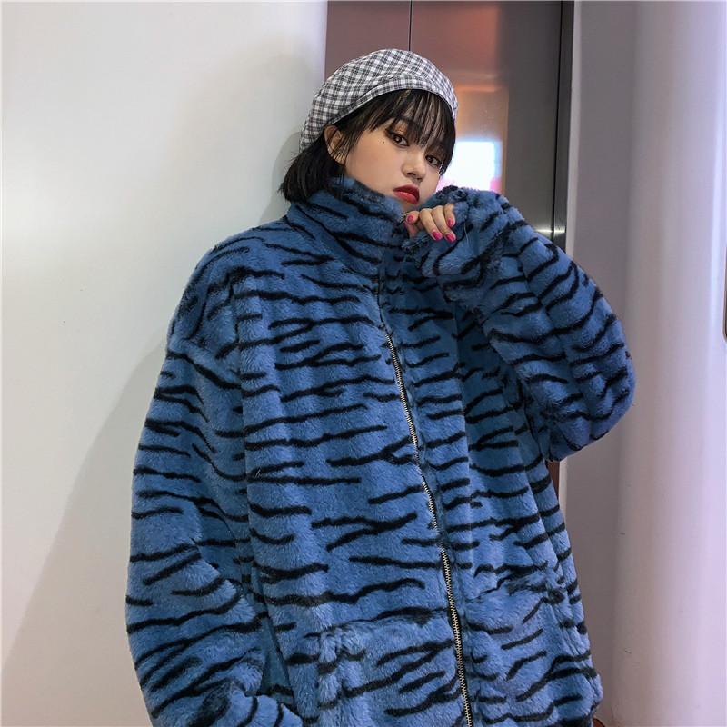毛绒外套女冬季韩版复古宽松直筒百搭立领加厚加绒开衫棉衣学生潮