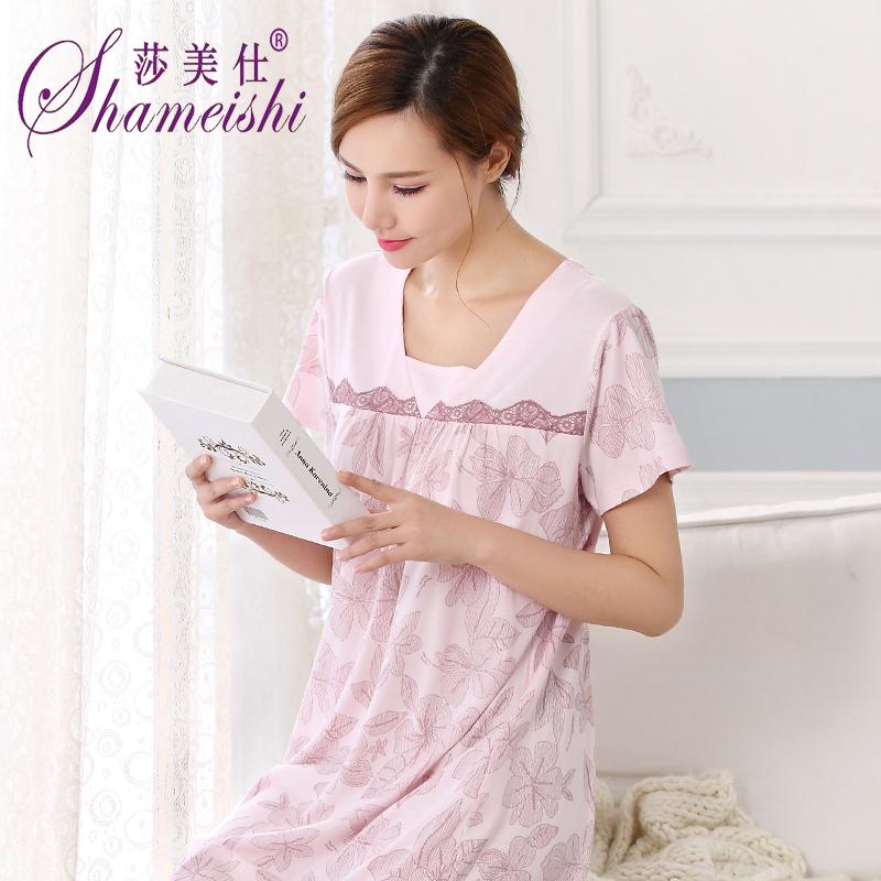 2018夏季女士纯棉睡裙棉绸睡衣短袖全棉家居服中年妈妈薄款连衣裙
