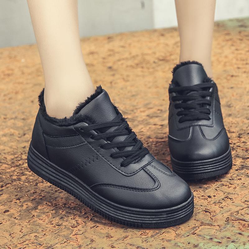 加绒小白鞋2018冬季新款松糕底休闲运动女鞋韩版厚底系带学生黑鞋