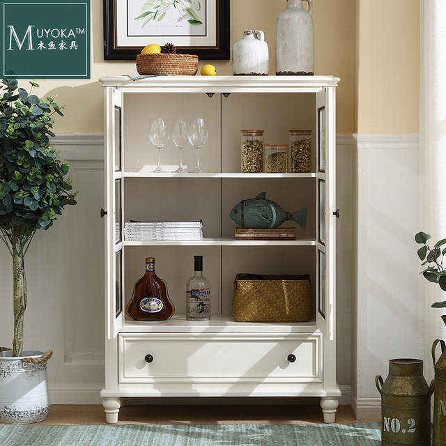 American Country Mahogany Sideboard White Living Room Tv Meal Side