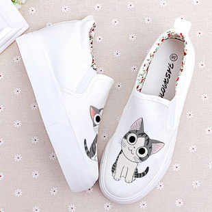 Increased 5CM student canvas shoes platform shoes 40 graffiti hand-painted shoes set foot lazy casual shoes