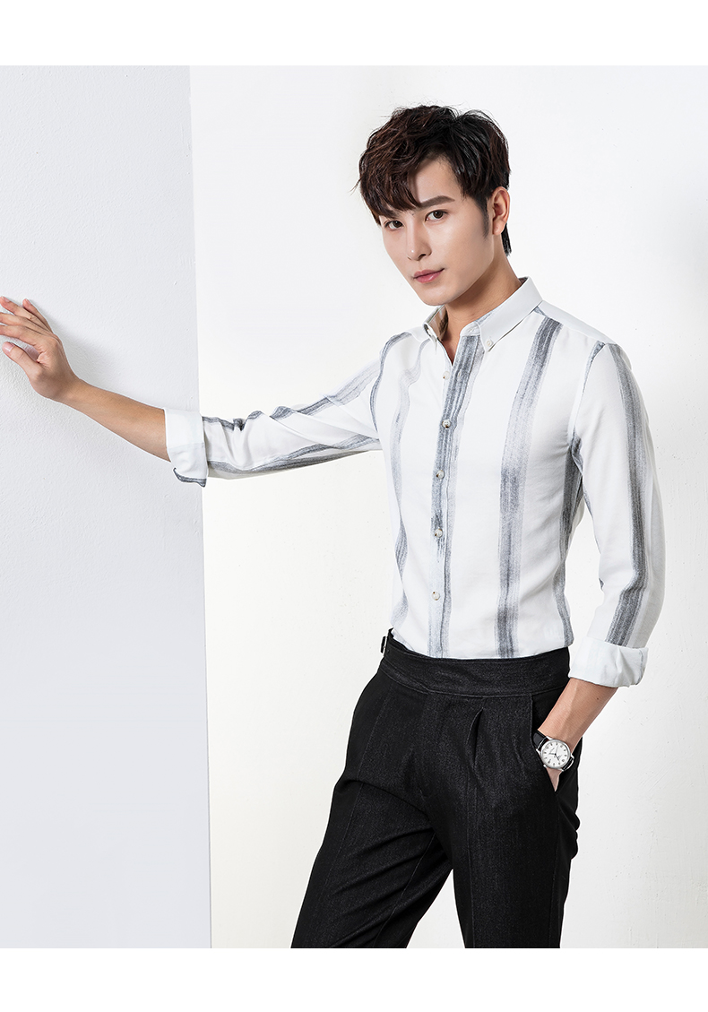 Long-sleeved shirt men slim big striped business casual shirt trend young Korean version handsome inch clothes iron-free 42 Online shopping Bangladesh