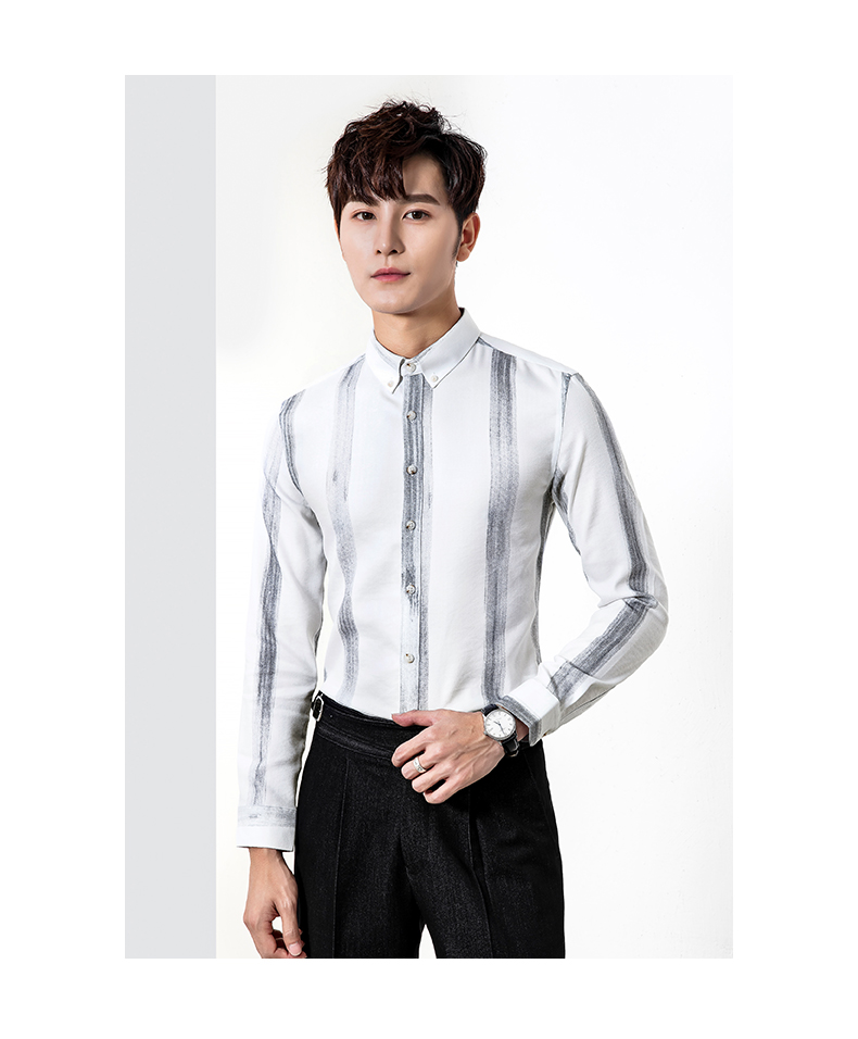 Long-sleeved shirt men slim big striped business casual shirt trend young Korean version handsome inch clothes iron-free 41 Online shopping Bangladesh