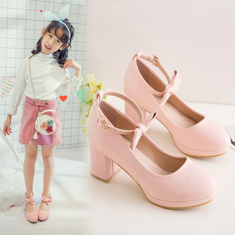 fe29c9e79b Korean bow Princess catwalk show girls shoes little girl children high heels  dress shoes host