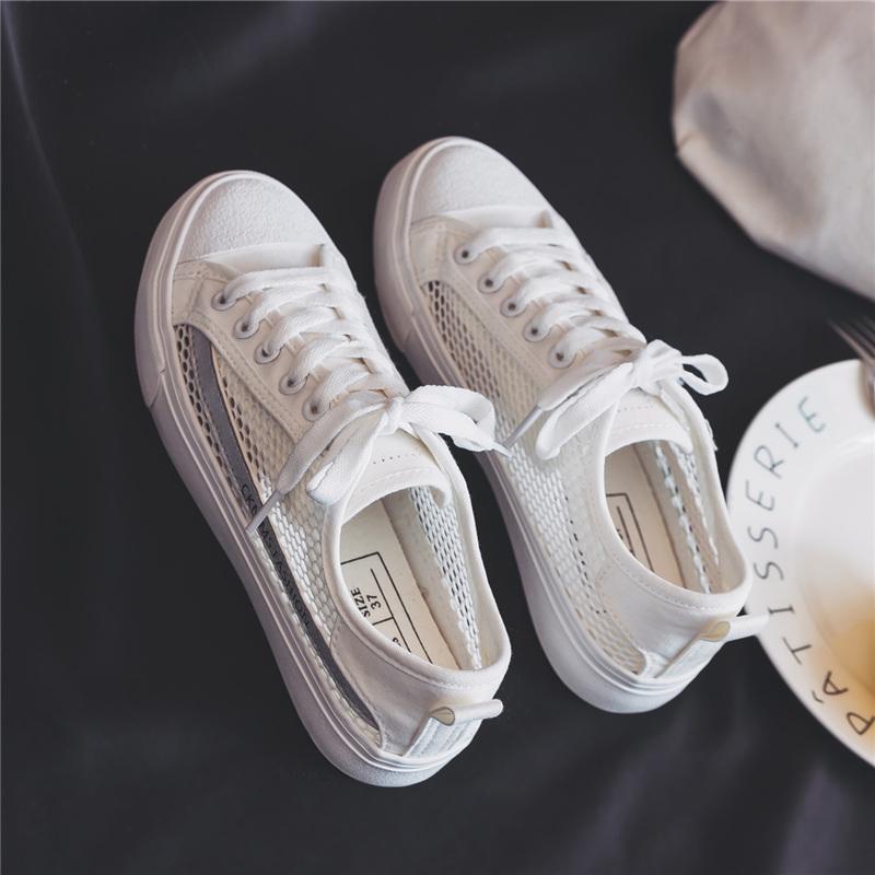 镂空透气ins鞋子超火夏季帆布鞋女原宿ulzzang百搭学生韩版小白鞋