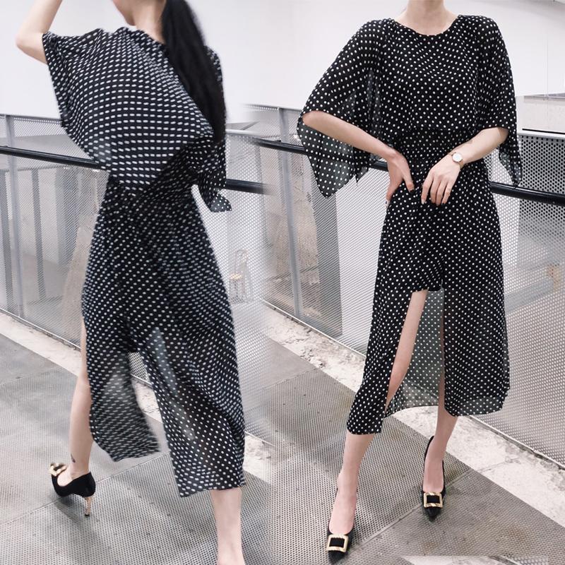 Đầm 2020 váy hai dây + quần short hai mặc mùa hè của phụ nữ chia váy dài eo cao phù hợp với váy voan - Váy dài