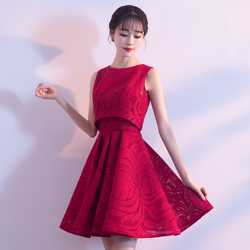 cc51bf80ae19 Bride toast service 2019 new spring short paragraph red dress ...