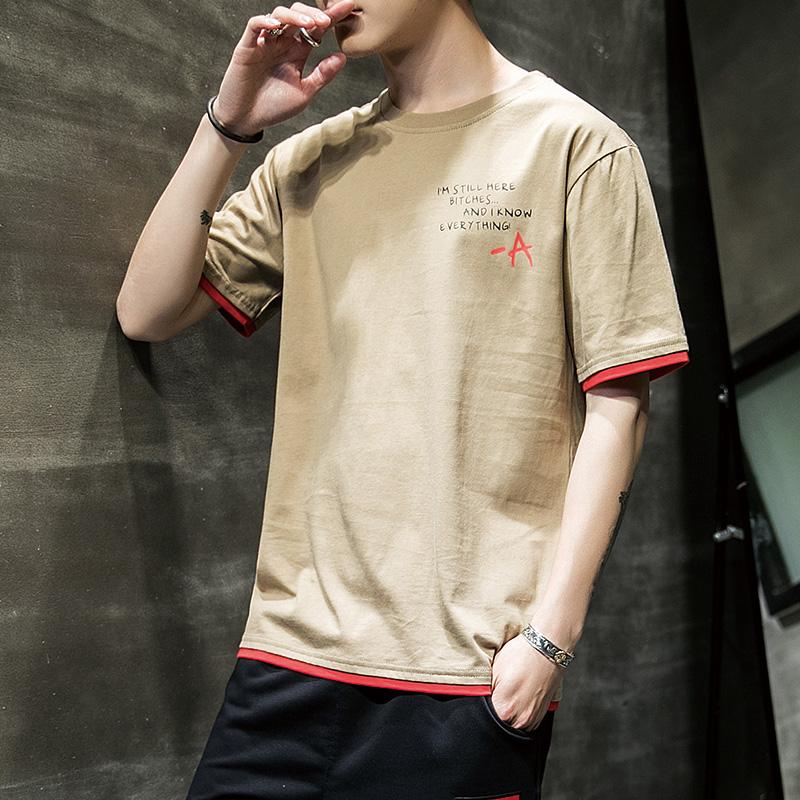 夏季新款短袖潮流圆领男生纯棉印花t恤
