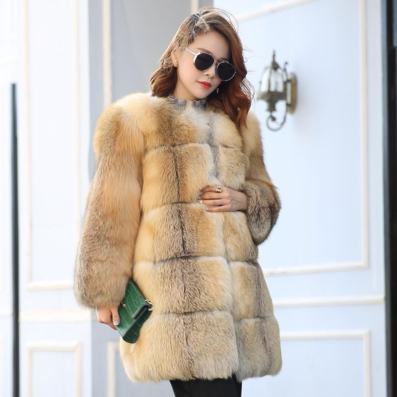 芬兰进口整皮稀有狐狸毛皮草大衣中长款女士海宁裘皮外套2016新款