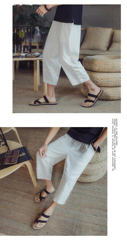 Quần linen nam phong cách Trung Quốc loose straight cotton quần chân rộng thời trang mùa hè quần âu linen chín quần mỏng