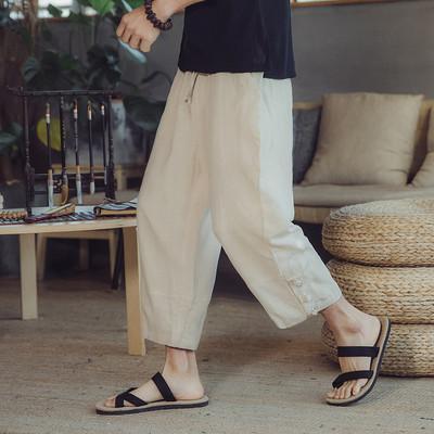 Quần linen nam phong cách Trung Quốc loose straight cotton quần chân rộng thời trang mùa hè quần âu linen chín quần mỏng Crop Jeans