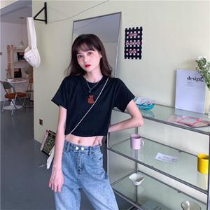 1夏2021季韩版新款修身显瘦短款露脐小熊刺绣短袖T恤学生上衣女装