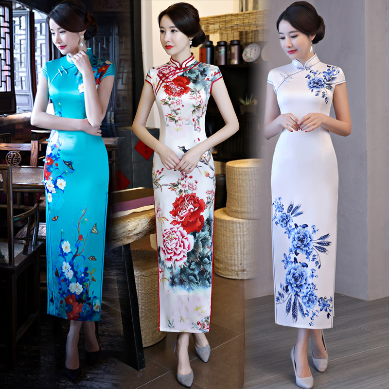 Chinese Dress Qipao for women Cheongsam dress Young Girl New Retro Chinese style long style show elegant woman