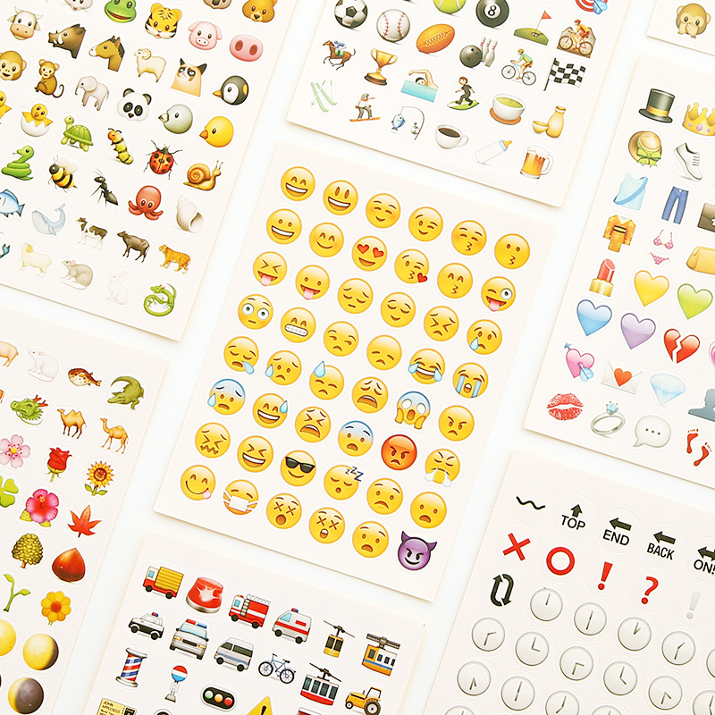 Japanese small fresh QQ WeChat smiley face stickers account book Diary DIY  decorative Emoji stickers package