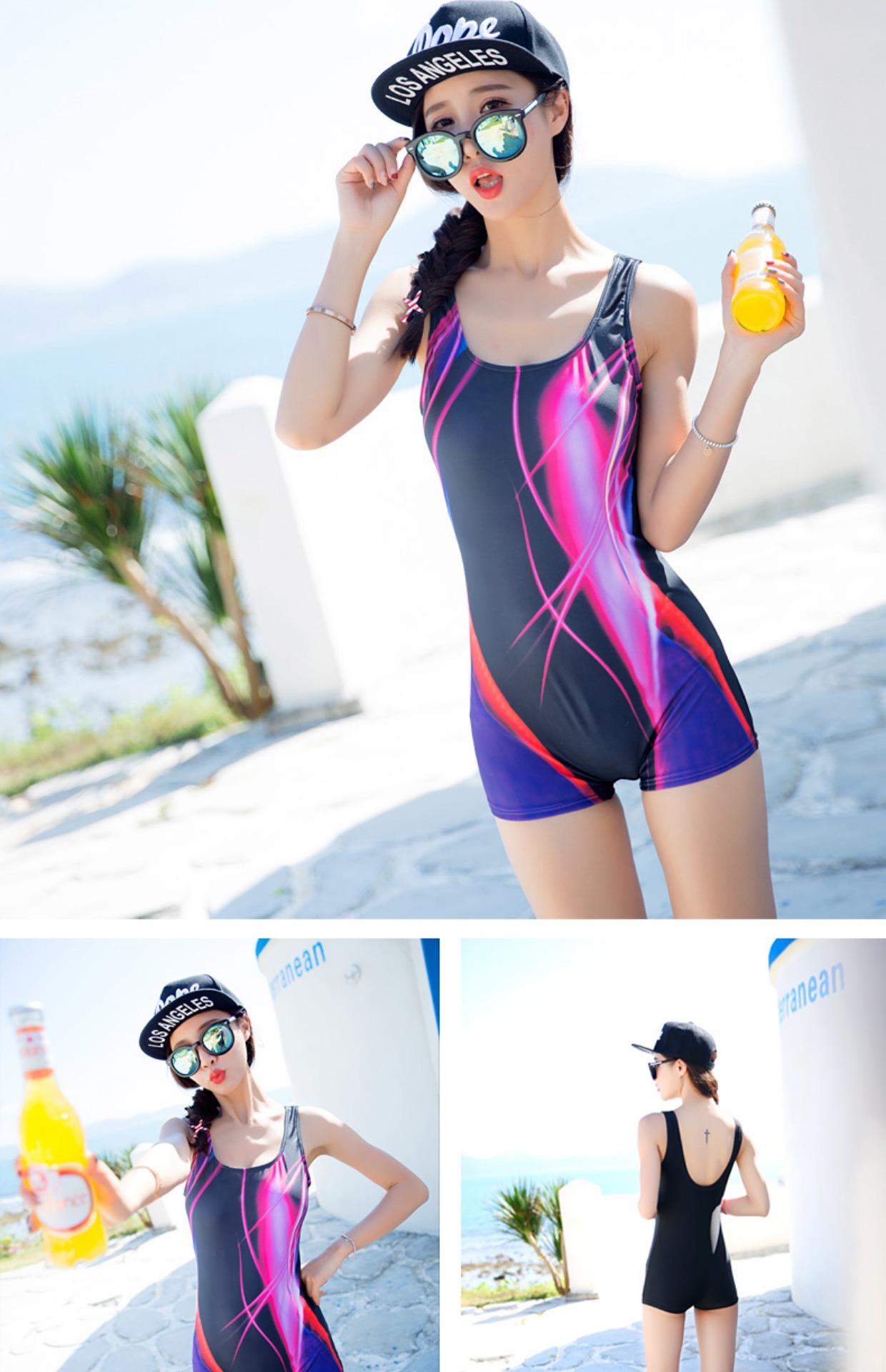 专业游泳衣女士学生遮肚保守大胸大码韩国温泉运动连体平角裤泳装3张