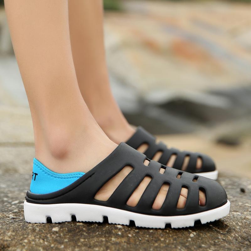 夏季拖鞋洞洞鞋拖鞋沙滩鞋韩版潮流透气半男士情侣大码鸟巢凉鞋子