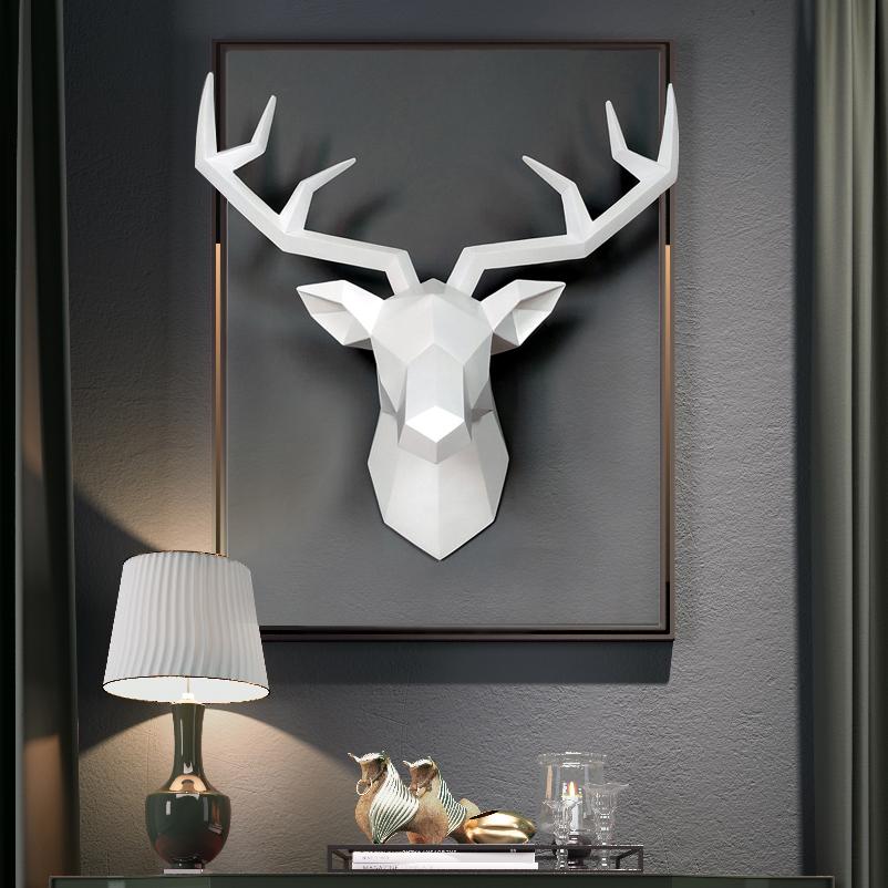 ins北欧几何创意壁挂装饰麋鹿立体墙面壁饰动物挂件鹿头客厅酒吧