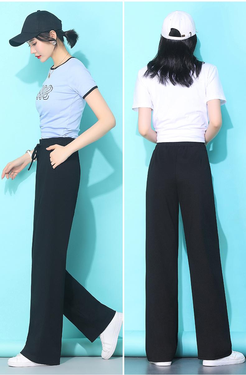 黑色直筒裤女夏季高腰休閒运动长裤宽鬆小个子垂感拖地灰色阔腿裤详细照片