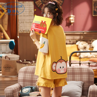 Pure cotton pajamas women summer 2021 new short-sleeved two-piece suit fresh students loose spring and autumn home service thin section