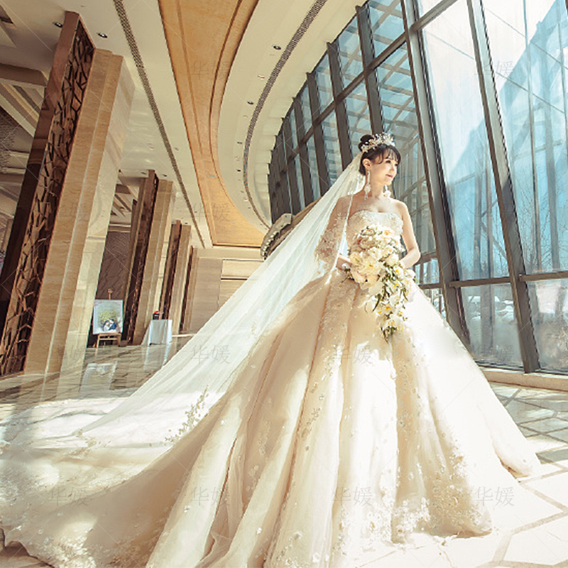 831a03c55c5f6 Light wedding dress 2018 new bride wedding princess dream tube top was thin  luxury long tail court