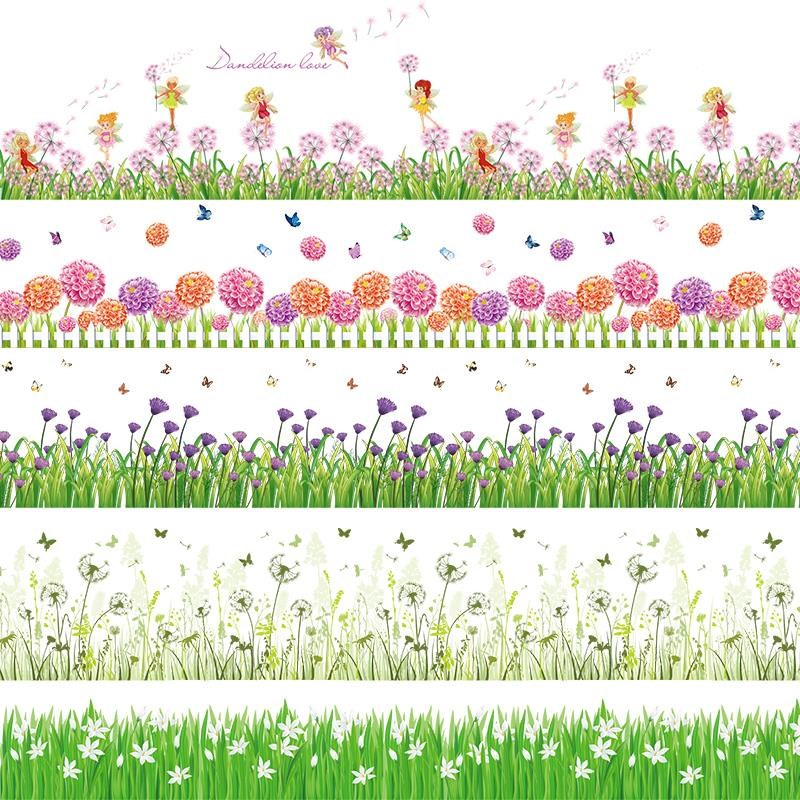 Baseboards decorative lace stickers grass wall stickers corner block decorative glass stickers waistline wallpaper
