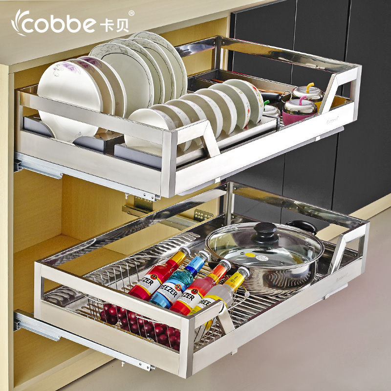 Kabe Cabinets Pull Basket Stainless Steel Dishes Kitchen Cabinet Racks  Seasoning Basket Kitchen Drawer Bowl Rack Cabinet Damping Blue