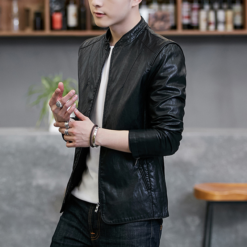 Leather men's 2020 spring autumn new PU leather jacket Korean version of the trend handsome locomotive youth Haining thin