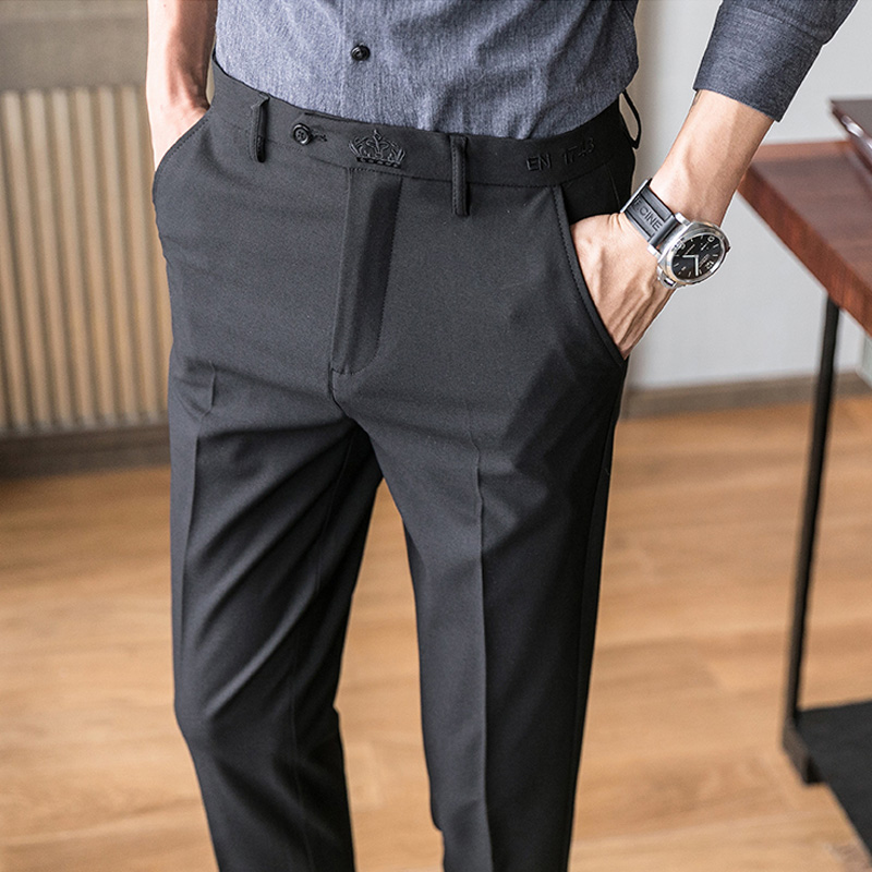 Pants men 2020 spring new casual long pants straight-line Korean version of the body-building trend brand loose business drop feeling.