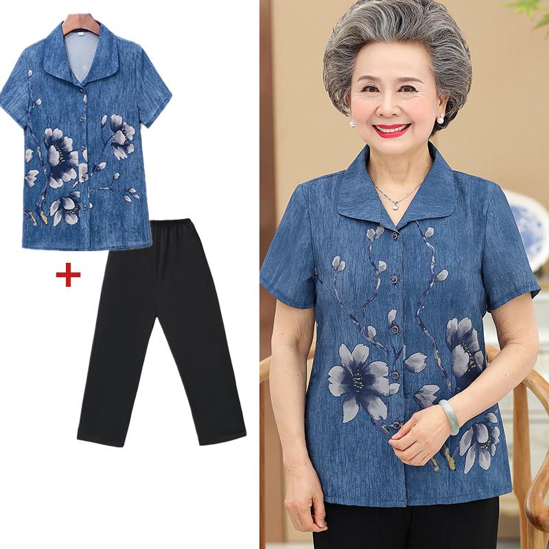 中老年人夏装女套装奶奶装老人衣服妈妈衬衫60-70岁套装夏季上衣