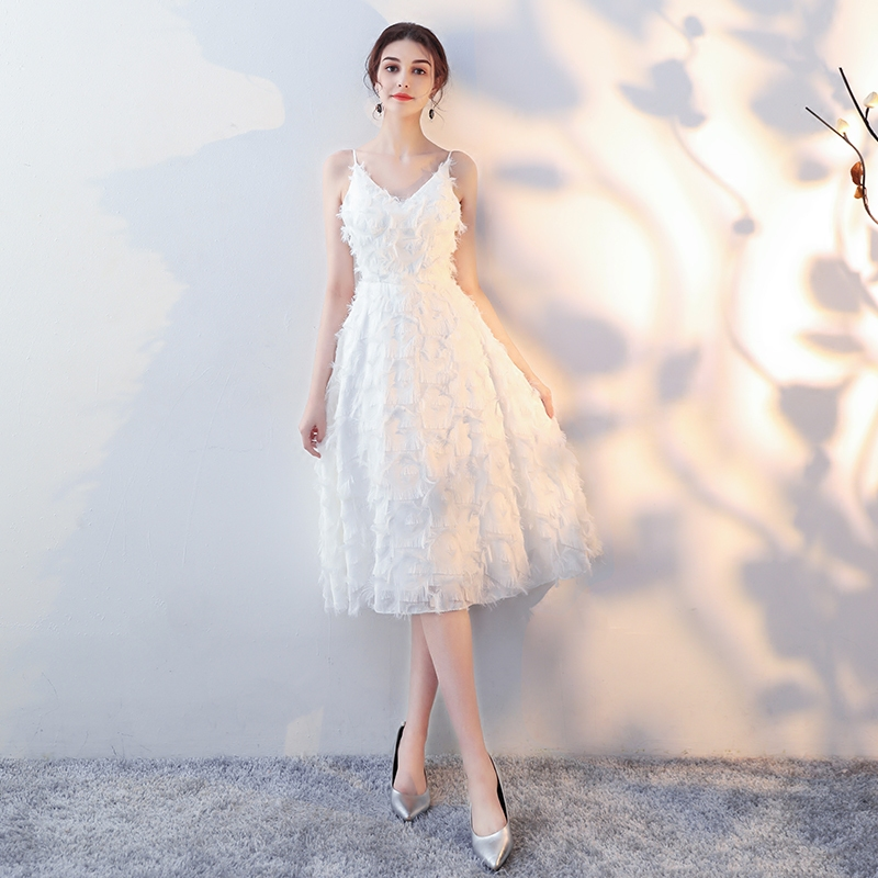 93cf249c989 Белый Маленькое вечернее платье юбка женское 2018 новая коллекция Банкетное  платье для вечеринки по случаю дня
